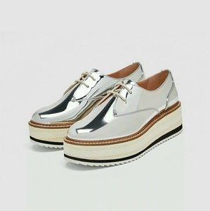 Zara Nwt silver platform derby shoe us sz 9 eu 40